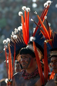 Wai-Wai durante jogos indígenas em Altamira