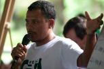 Geová, fala para lideres comunitários, convidados e jornalistas durante o IV Encontrão para dar continuidade a implantação do protocolo comunitário no Arquipélago do Bailique, foz do rio Amazonas, Amapá, Brasil.Foto Paulo Santos 13/06/2015