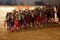 Durante 9 dias 1.800 atletas indígenas: 1.100 de etnias brasileiras e 700 de etnias internacionais participam dos I Jogos Mundiais dos Povos Indígenas, em Palmas no Tocantins entre os dias 23 a 31 de outubro. Diversas modalidades como arco e flecha, arremesso de lança, cabo de força, canoagem, corrida com tora, corrida de resistência (10km), corrida de velocidade (100m), futebol, lutas corporais, natação e canoagem serão disputados pelos participantes, além de esportes e jogos tradicionais específicos de cada etnia que serão apresentados. Palmas, Tocantins, Brasil. Foto Haristélio Sérgio/Acervo h out/2015