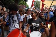 Manifestantes em passeata durante a greve geral em todo país contra as reformas propostas pelo governo Temer. Belém, Pará, Brasil. Foto Eduardo Kalif 28 04 2017